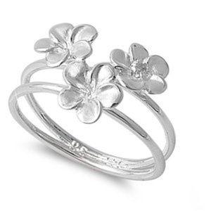 .925 Sterling Silver Triple Plumeria Flower Ring